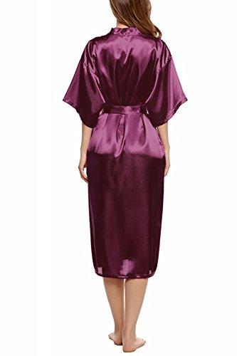 Dolamen Donna Kimono Vestaglia Pigiama Sleepwear, Lussuoso Raso Vestaglie e Kimono Robe Accappatoio damigella d'onore da notte Pigiama, stile lungo Viola