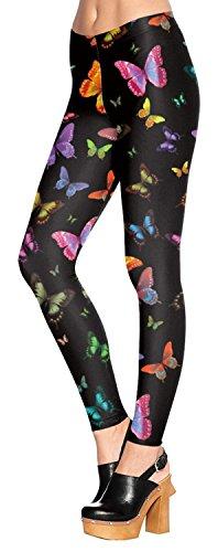 Chocolate Pickle Nouveau Femmes Crâne Rose Papillon Impression Skinny élastique Workout Gym Pantalons Leggings 36-54 butterfly print