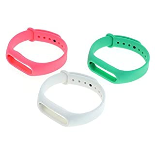 OTB TPU Armband kompatibel zu Xiaomi Mi Band 2 - 3er Set - hellgrün/weiß/pink