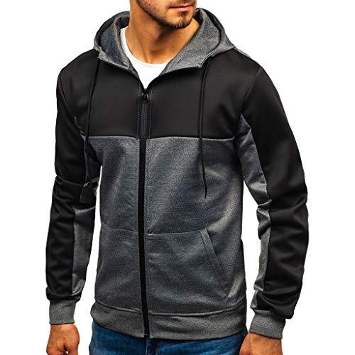 Hombres Nueva Sudadera Moda Casual Patchwork Slim Hoodie Outwear Blusa con Capucha con Cremallera Ropa...
