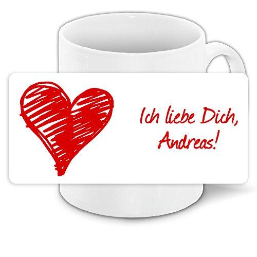 Tasse mit Spruch - Ich liebe dich - mit Namen Andreas und schönem Motiv für Verliebte zum Valentinstag | Liebestasse | Valentinsgeschenk