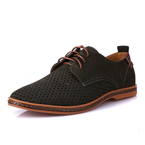 Men's Suede PU Leather Cut Outs Breathable Casual Shoes Kaki