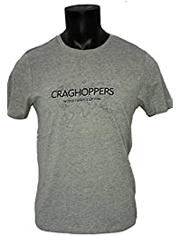 Craghoppers Mens Casual Graphic Logo Short Sleeve Walking Hiking T-shirt in Grey Marl