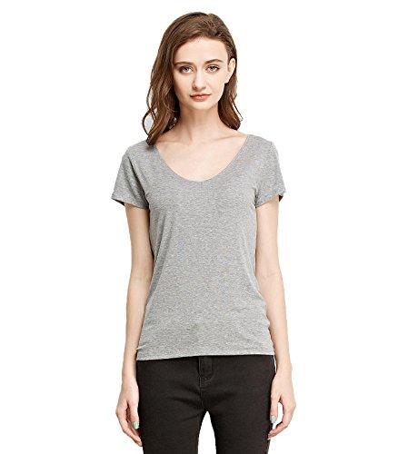 Liang Rou Damen Mini-Gerippt Stretch T-Shirt mit V-Ausschnitt Lichtgrau