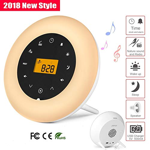Alarm Clock Wake Up Light,AGPtEK White Noise Machine,Bedside Lamp Night  Light with FM Radio,Aux-in Speaker and USB Charger