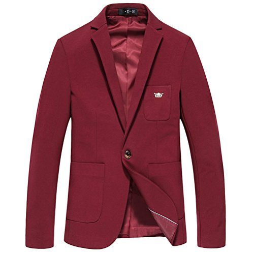 Zhhlaixing morbido Men's High Quality Bussiness Long Sleeve One Button Blazer Jacket Red