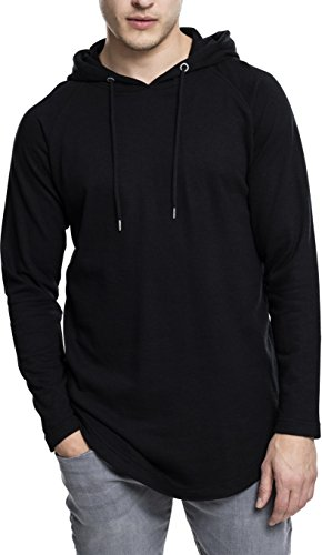 Urban Classics Herren Kapuzenpullover Long Shaped Terry Hoody,Schwarz (black), XL