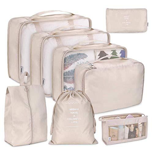 lennonsi 8 stücke Organizer Koffer Set Gepäck Sortierung Aufbewahrungstasche für Kleidung Kosmetische Schuhe Reiseveranstalter Organisieren Taschen Handtaschen