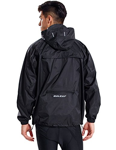Baleaf Unisex Einpackbar Wasserdicht Wetterschutz Jacke Regenjacke mit Kapuze Poncho Regenmantel Schwarz L/XL