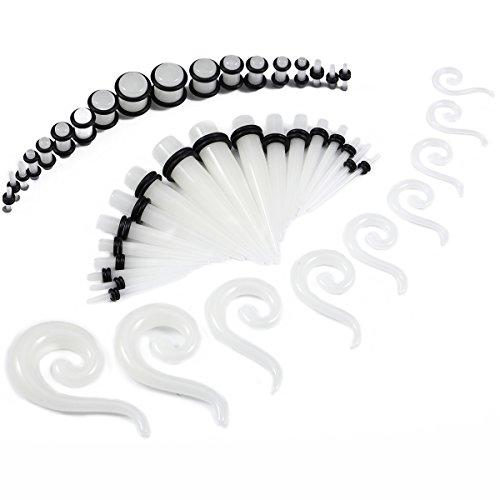BodyJ4You Women's 54 Stücke Messer Kit im Dunkeln leuchten spiral Teardrop Verjüngungen und Stecker 14g-00g Verstrecken kit - 27 Paare -