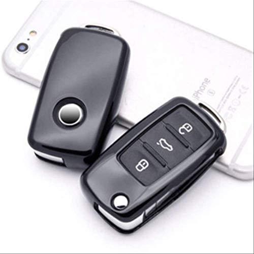 Key caseSoft Car Key Case for VW Golf Bora Jetta Polo Golf Passat Skoda Octavia Fabia Seat Ibiza Leon Autozubehör Schutz A-rot (Color : 4)