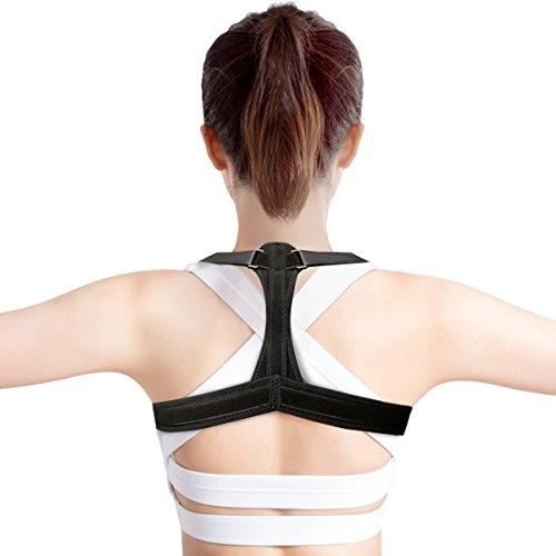 Geradehalter,CAMTOA Haltungskorrektur verstellbare Größe Rückenbandage, Schulterhaltung Schlüsselbein Back Corrector, Haltungsbandage Korrektur für Damen und Herren, Ideal zur Therapie haltungsbedingte Nacken, Rücken und Schulterschmerzen M 99-114 cm