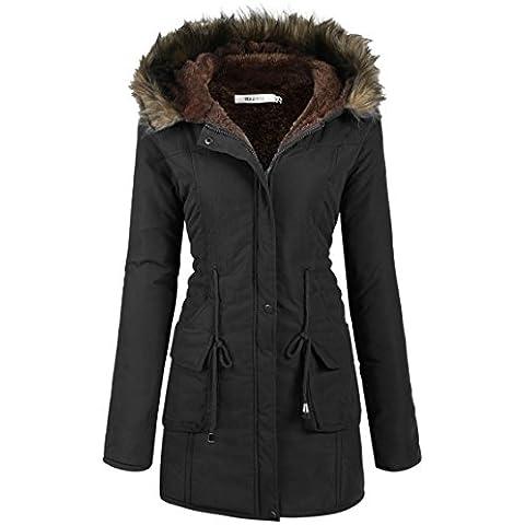 Meaneor Abrigo anoraks chaqueta parka de mujer con capucha de pelo para invierno