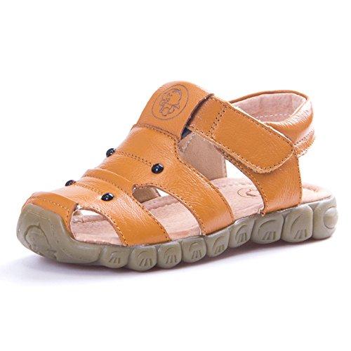 KVbaby Jungen Mädchen Geschlossene Sandalen aus Weichem Leder Sandalen Kinder Outdoor biegsame Sohle Trekkingsandalen Lauflernschuhe Klettverschluss (Nicht-leder-schuhe)