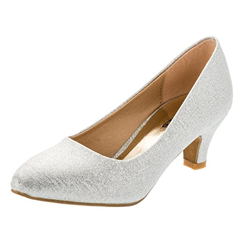 (Festliche Mädchen Pumps Ballerina Schuhe Absatz Glitzer in Vielen Farben M342sigl Silber Glitzer 26)