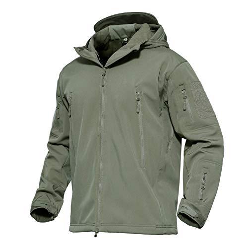 KEFITEVD Übergangsjacke Softshell Herren Armee Fleece warm Regenjacke wasserdicht wetterfest Jacke Jagd Camping Armeegrün M (Etikett: L)