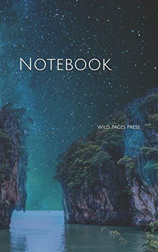 Notebook: Landscape night sky star rocks sea starry - Sea Data Card