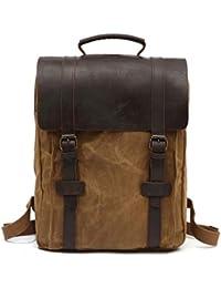 bb6940ffc7d0f Klerokoh Ölwachs Wasserdichte Rucksack Tasche Abdeckung Typ Reise Rucksack  Computer Tasche für Männer Schule Wandern