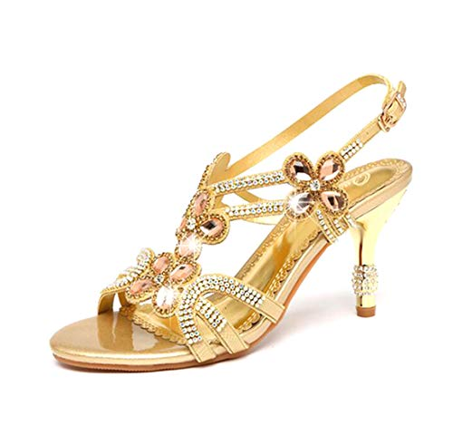 Damen Diamant Sandalen/Flash Summer Club Schuhe Sandalen Dicke Ferse Diamant Gold/Lila/Party & Party,Gold,34