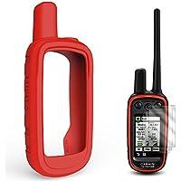 TUSITA Funda Protectora para GPS de Mano Garmin Alpha 100, Accesorios de Funda de Piel de Silicona con Protector de Pantalla (Rojo)