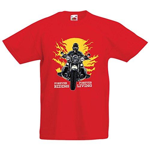 lepni.me Kinder Jungen/Mädchen T-Shirt für Immer Reiten, für Immer Leben - Motorradslogans, Motorrad-Zitate, Radfahrer-Geschenk-Ideen (1-2 years Rot Mehrfarben)