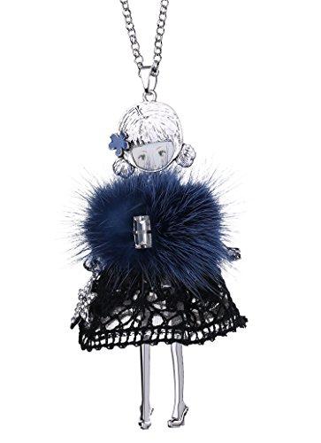 BABEYOND Damen modische Halskette mit Anhänger Ketten mit kleiner Mädchen Puppe lange Halsketten Damen Modeschmuck Accessoires 84cm + 7cm (Schwarze Kleid Puppe)