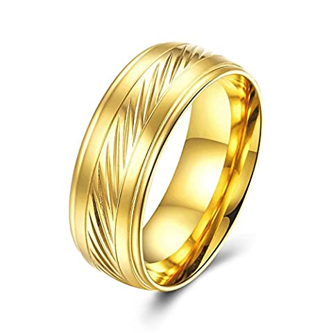 SanJiu Jewelry Unisex Wedding Rings Round Gold Plated Ring Simple Style Promise Anniversary Engagement Charm Ring for Women and Men Gold Size P 1/2