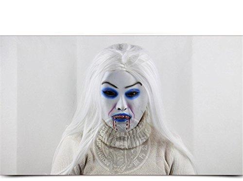 Frau Minion Kostüme (SQCOOL Weißes Haar Blut Demon Frau Weiche Maske Perücke Halloween Weihnachten Performance Props Latex Horror)