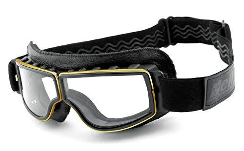 Helly® - No.1 Bikereyes® | beschlagfrei, winddicht, HLT® Kunststoff-Sicherheitsglas nach DIN EN 166 | Motorradbrille | Brillengestell: schwarz, gold matt, Brille: 1360