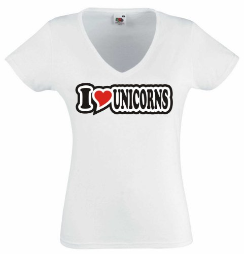 T-Shirt Damen - I Love Heart - V-Ausschnitt I LOVE UNICORNS Weiß
