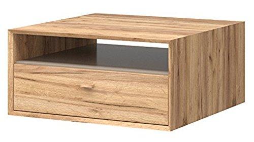 PEGANE Table Basse Coloris Chêne Navarra repro/Gris Pierre - Dim : 80 x 38 x 80 cm