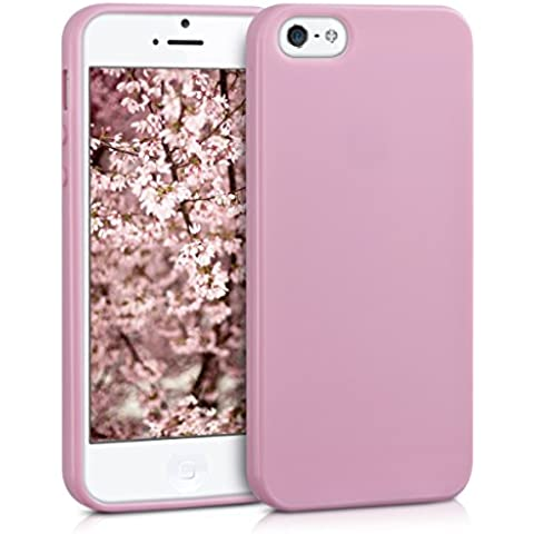 kwmobile Funda de TPU silicona chic para el Apple iPhone SE / 5 / 5S en rosa palo mate