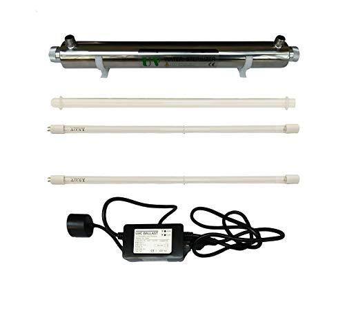 UV Wasser Desinfektion System Edelstahl 304 UV Sterilisator Flussrate 6GPM 25W (Watt) Ultra violettes Licht Filter Wasserfilter mit Einlass/Auslass m?nnlich 1/2 Zoll