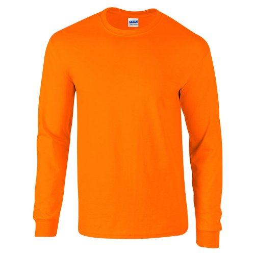 Gildan Mens Long Sleeve Ultra Soft Style Cotton T Shirt, Safety Orange,  Medium