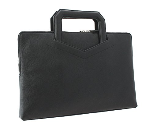 Visconti doux Pebbled grains PANTHER en cuir Goutte poignée Folio Case KR74 Noir noir