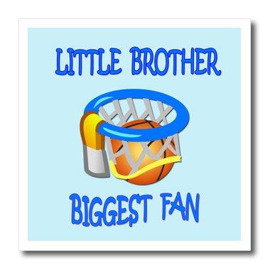 3dRose HT 218158_ 1Little Brother Biggest Fan. Basketball. Blau Zitat. Spruch.–Eisernen, auf Wärmeübertragung, 820,3cm für weiß Material