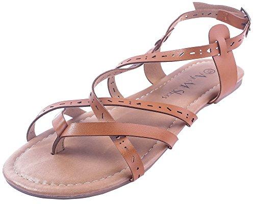 AgeeMi Shoes Damen Getrennt Zehe PU Rein ohne Absatz Sandalen,EuL27 Braun 40 (Flats Shoes Damen Peep-toe)