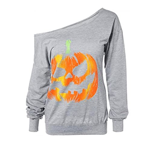 Women Halloween Sweatshirt Pullover Pumpkin Print Long Sleeve Off Shoulder Tops Blouse By Quistal (XL,