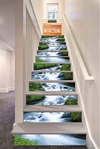 12 Stücke Treppen Aufkleber, kreative 3D Mountain Stream Stil selbstklebende Stairway Decals Abnehmbare DIY Treppen Schritte Decor Papier 100x18 cm