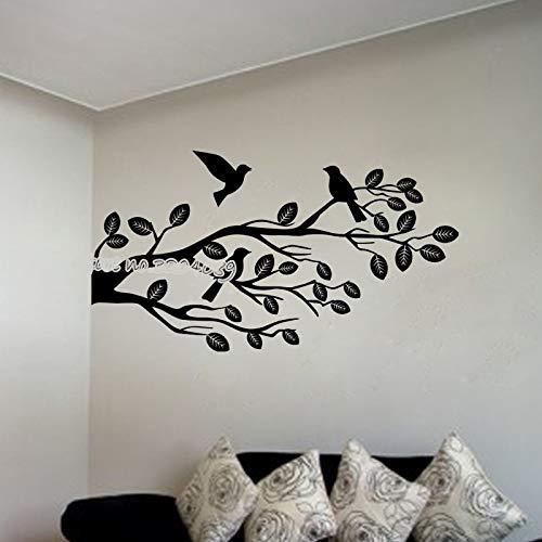 yiyiyaya AST Vögel Wandtattoo Zweige Mit Vogel Stehend Auf Baum Wandaufkleber Pflanze Natur Wohnkultur Vinyl Kunstwand 77X42 cm