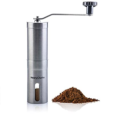Henry Charles Manual Coffee Grinder Stainless Steel with Adjustable Ceramic Conical Burr, Hand Crank Mill, Compact size perfect for the home, office or travelling