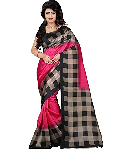 New Collection Fancy And Regular Casual Wear Women Mysore Silk Yellow Color Printed Saree In Low Price By Shivam synthetics (pink)  available at amazon for Rs.399