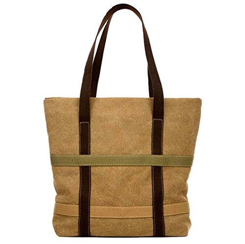 GSPStyle Unisex Canvas Schultertasche Damen Handtasche Henkeltasche Shopper Braun