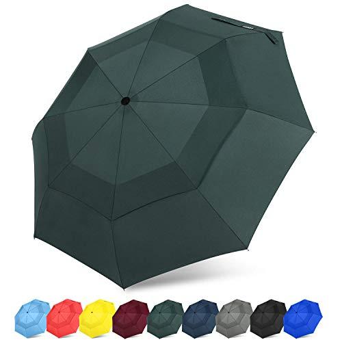 G4Free Kompakter Reise-Regenschirm, belüftet, Winddicht, doppeltes Baldachin, automatisches Öffnen/Schließen, zusammenklappbarer Regenschirm mit Sicherheitsverschluss, dunkelgrün -