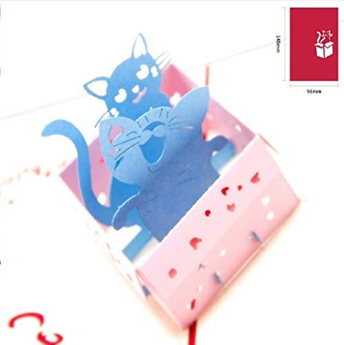 BC Worldwide Ltd carta pop-up 3D fatta a mano, due gatti, compleanno, anniversario di matrimonio, Natale, cartolina di San Valentino.