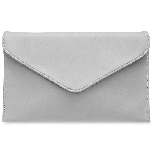 CASPAR TA310 Damen Envelope Clutch, Farbe:hellgrau
