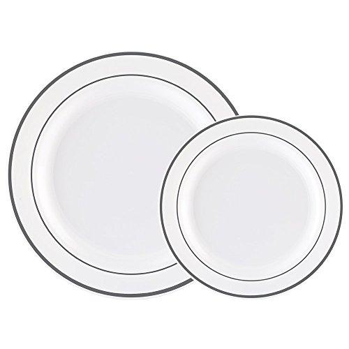 60 x schwere, weiße Plastikteller mit Silberrand, 30 x 26 cm Teller, 30 x 19 cm Salatteller, plastik, White/Silver Rim, 30 dinner plates+30 salad plates Rim Dinner Plate