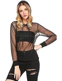 Imposes Damen Sommer Shirt Langarm Transparent Mesh Bluse T-Shirt mit  Kapuze Tunika Tops d38a6d8eb6
