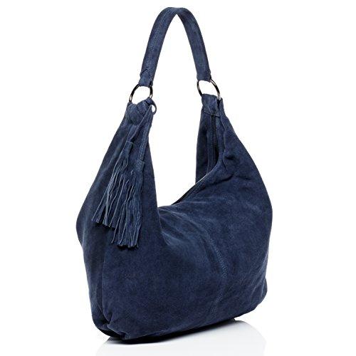 BACCINI borsa a spalla SELINA - sacchetto - Borsa da donna vera pelle (53 x 37 x 7 cm) blu