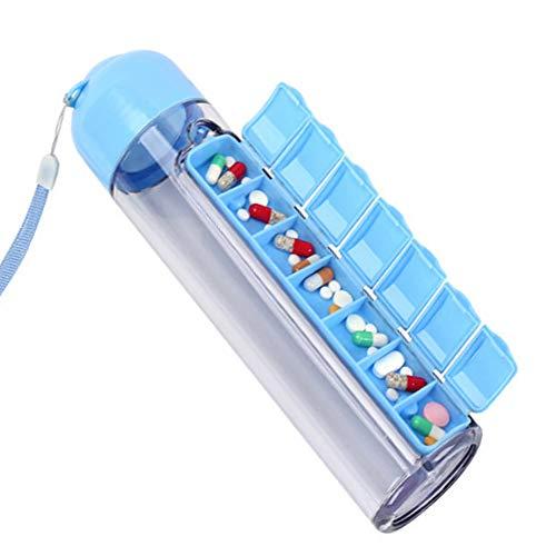 EFGS Pille Organizer Und Reise-Flasche Altere Menschen 7 Tage Tragbare Medizinische Box Abnehmbar,Blue